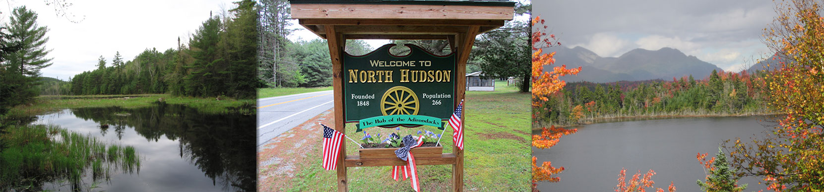 Welcome to North Hudson NY sign - Boreas Pond - East Mill Flow, Round, Trout