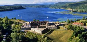 Fort Ticonderoga view of buildings and lake
