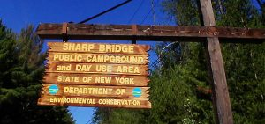 Sharp Bridge Public Campground sign